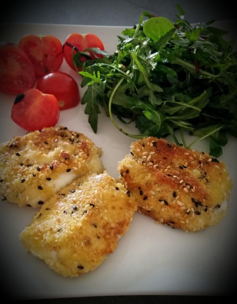 mozzarella panée au graines de sésame