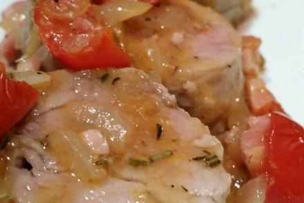 filet mignon  de porc aux lardons